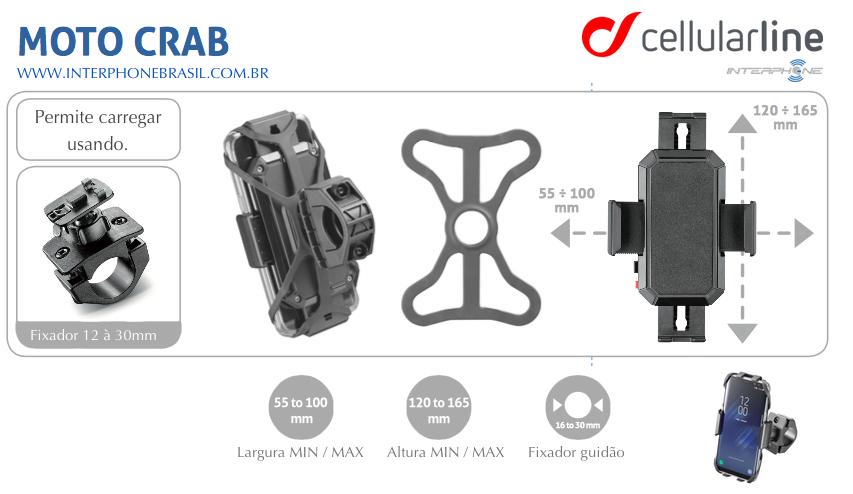 Suporte para Celular Moto e Bike Universal MotoCrab